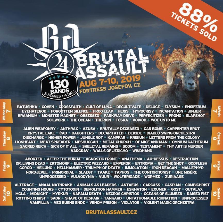 brutal Assault 2019: Bands by days!